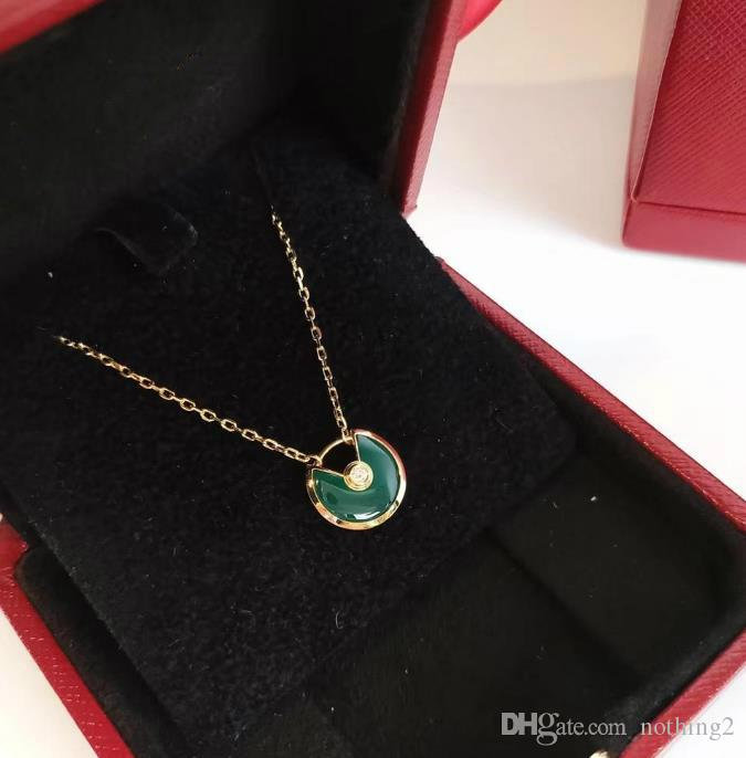 Designer AMULETTE DE Jewelry Necklace 925 Silver Mini Green Chalcedony Amulet Necklace Woman High Quality Jewelry