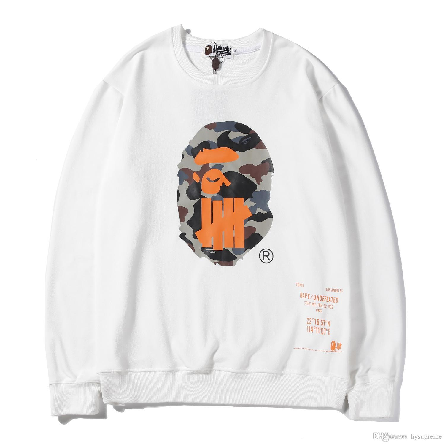 New Arrival Men's Black White Orange Cartoon Printed Thin Bottoming T-shirt Lover Pullover Round Neck Sweater Hoodies