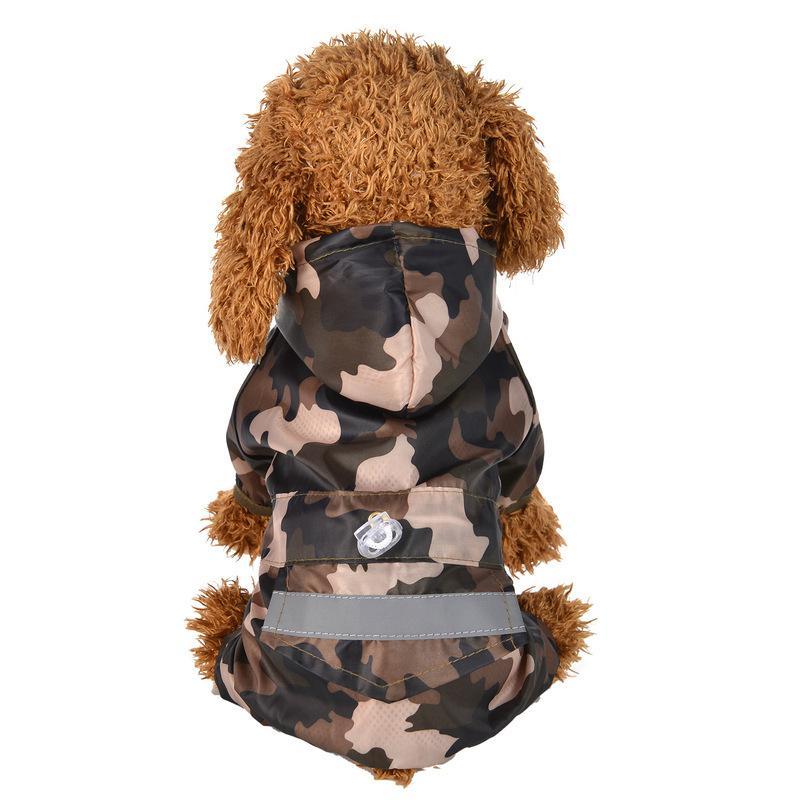 Dog Pet Raincoat Raincoat Hoodies à prova d'água Roupa Cães de chuva amarelo / vermelho / Camouflage / azul do buldogue francês do filhote de cachorro Roupa