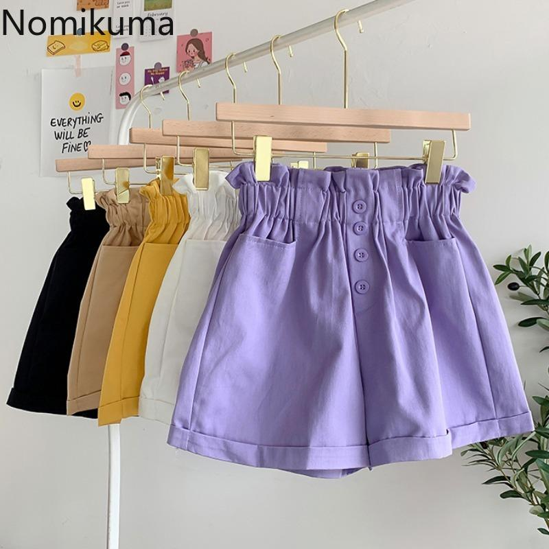 Nomikuma nuovo modo di arrivo casuale vita alta Shorts Solido Colore gamba larga pantaloni di scarsità di donne coreane 2020 Estate Ropa Mujer 3b542