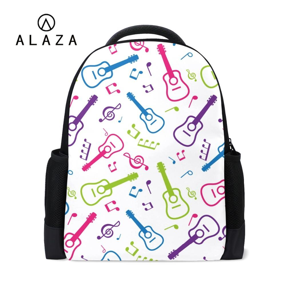 23f5462b6 ALAZA High Quality Teenager Backpack Guitar Printing Large Space Laptop Bag  School Travel Shoulder Bag Drop Shipping