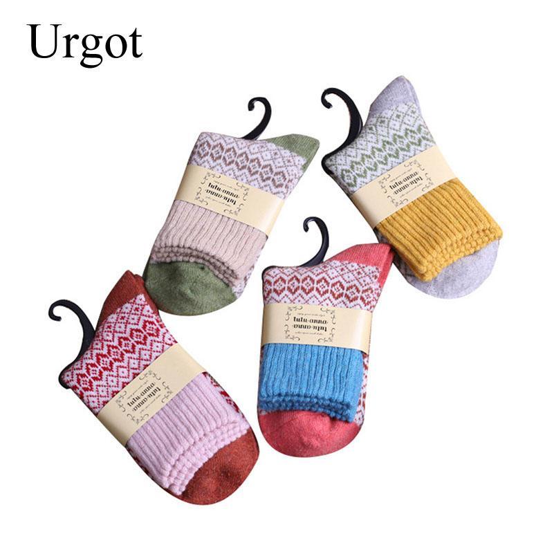 Urgot 5 Pairs High Quality Women's Winter Vintage Rabbit Wool Socks Women Thicken Warm Female Fashion Retro Thermal Cotton Socks