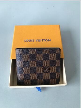 A2 París de tela escocesa para hombre del estilo billetera famosa especial de los hombres bolso de lujo de la lona múltiple corta pequeña XOTC doble pliegue billetera
