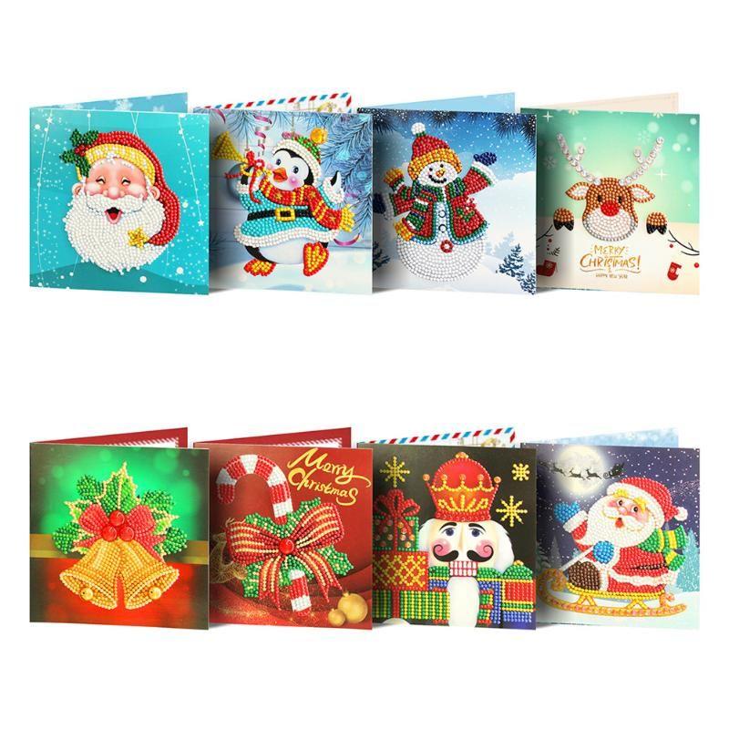Площадь совета Рождественская открытка Shaped DIY Смола Алмазный Картина 8 шт Набор