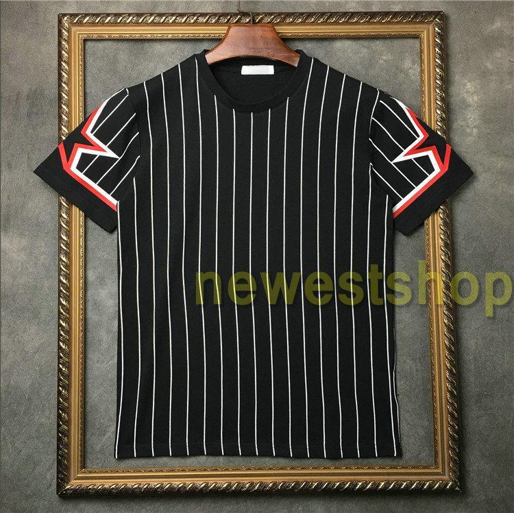 2020 новый стиль дизайнера мужской звезды печати футболка мода пентаграмма звезда полосатая печать футболка мужской хлопок Повседневного тройник Дизайнер футболку