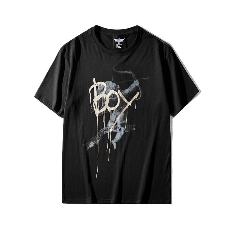 Imprimir 20ss Boy London TEE Águila Hombres camiseta blanca de alta calidad del algodón de las mujeres Negro diseñador de la camiseta del cuello de equipo del verano camisetas