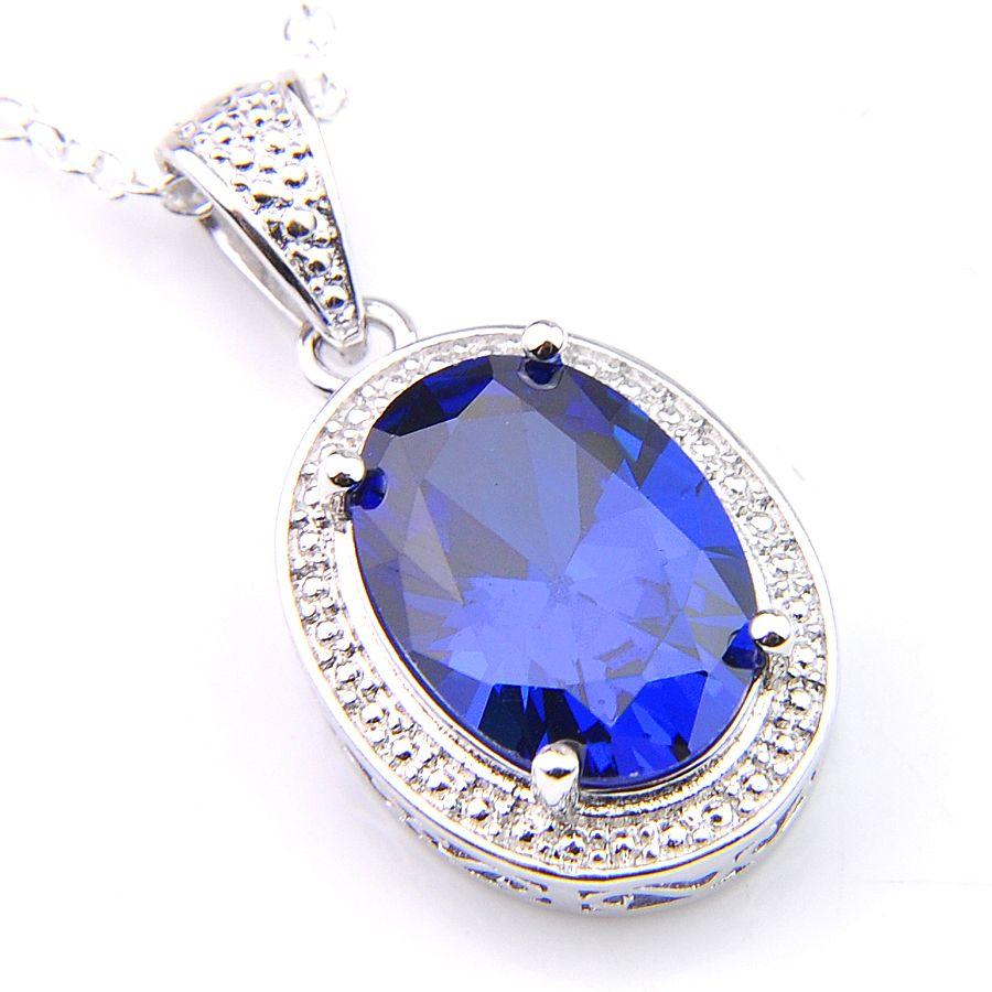 Nieuwe Vintage Ovaal Zwitsers Blauw Topaas Gems Hanger Ketting 925 Zilveren Sieraden voor Dames Thanksgiving Gift CZ Zirkoon Hanger Sieraden 1Inch