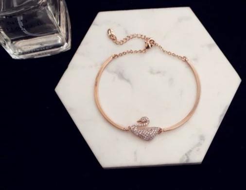 pulseira de cisne preciosas e cristal de prata pura com os diamantes para mulheres ou meninas ou namorada para lembranças com design exclusivo