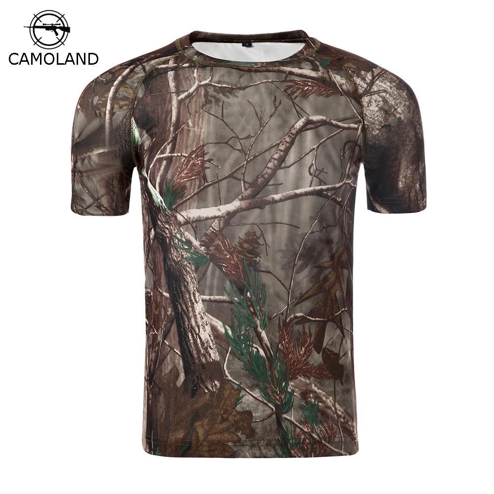 Yaz Askeri Kamuflaj T-shirt Erkekler Taktik Ordu Savaş T Gömlek Hızlı Kuru Kısa Kollu Camo Giyim Rahat O Boyun T-shirt C19041301