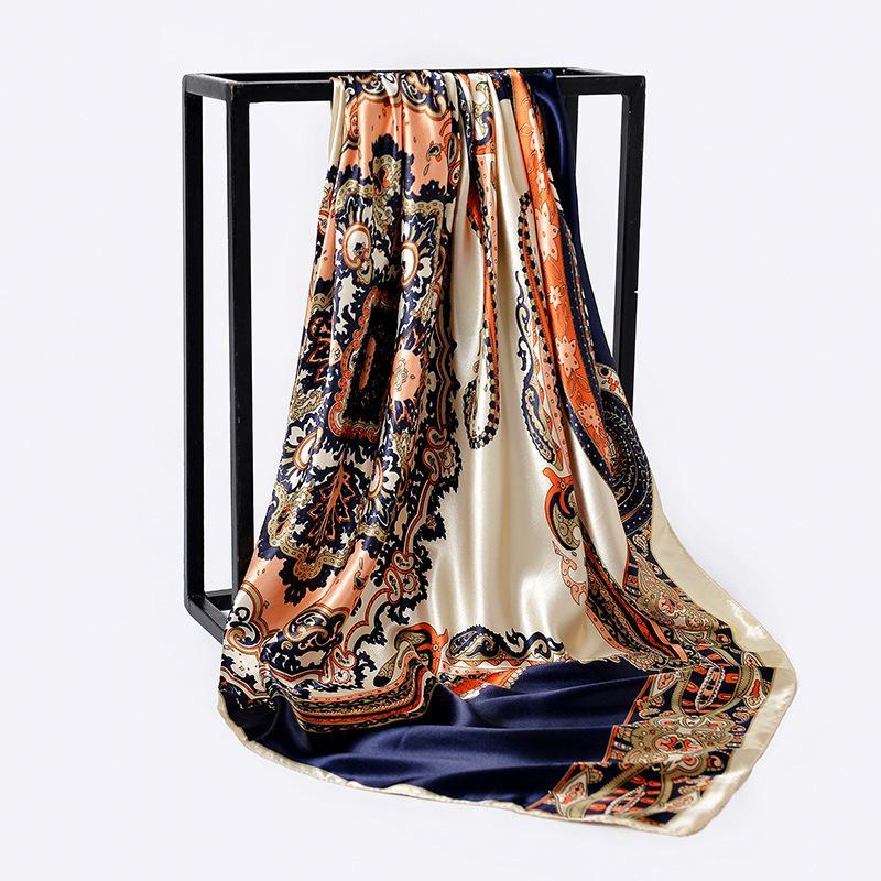 90*90cm Paisley Print Hijab Scarf For Women Fashion Kerchief Silk Satin Neck Scarves and Wraps Square Shawls Bandana Head Scarfs T200615