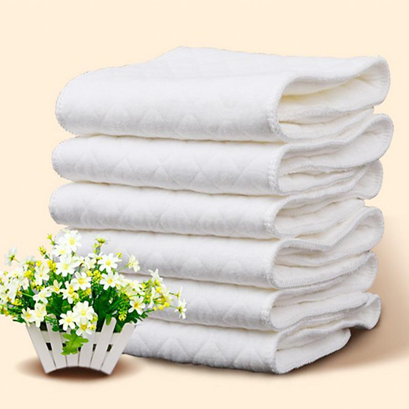 New 2020 Wiederverwendbare Baby-Windeln Tuch-Windel-Einsätze 1 Stück 3 Schicht-Einsatz 100% Baumwolle Waschbar Babys Pflege umweltfreundliche Windel 10pcs
