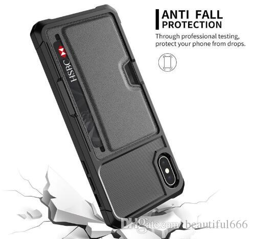 신용 카드로 아이폰 X XS MAX XR 8 7 6S 플러스 전체 커버 쉘 자동차 홀더 전화 케이스에 대한 고급 자석 스탠드 전화 케이스