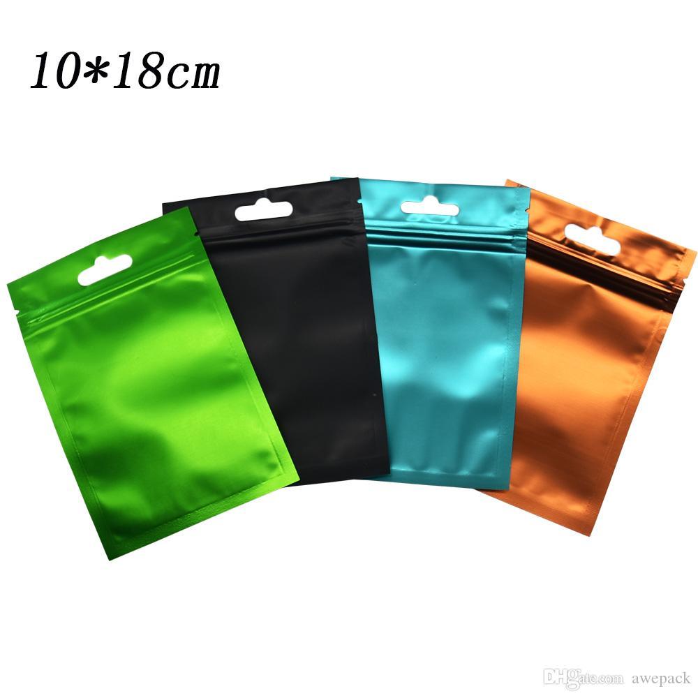 10 * 18 centimetri termoretraibili con chiusura a cerniera pacchetto di plastica borse sacchetto di imballaggio accessorio di drogheria elettronica richiudibile cerniera Top Mylar Foil Bag 100 pz / lotto