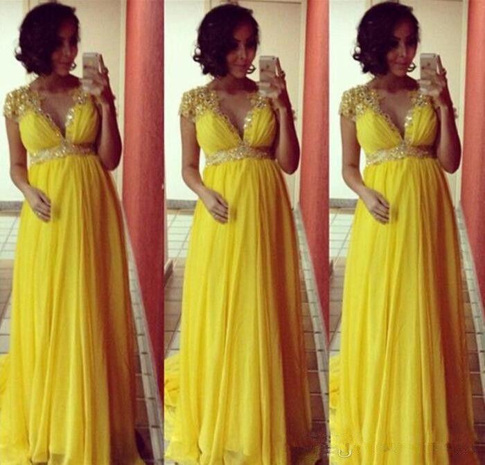 Яркий желтый Короткие рукава шифон Длинные вечерние платья для беременных для беременных женщин Формальное Пром платья империи бисером Кристалл Sas