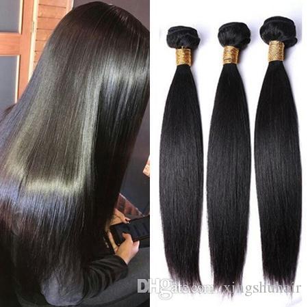 9 A Bundle di capelli lisci Le estensioni dei capelli indiani vergini vergini diritte diritti di trama dei capelli umani tessitura dei capelli