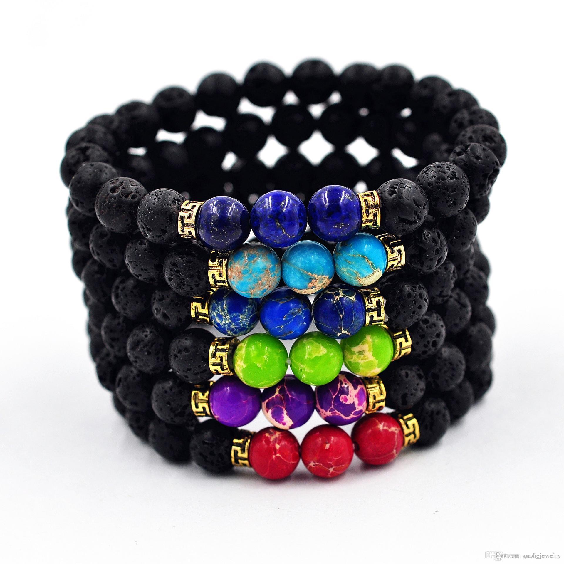 Nuevas pulseras de cuentas unisex pulseras de piedra de lava natural pulseras de cuentas de Buda retro envío gratis