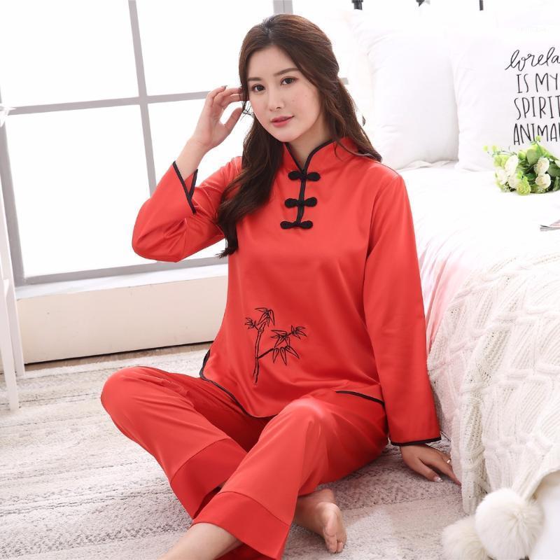 Cappello rosso vendita Faux delle signore della Seta Pajamas Set Cinese tradizionale pulsante Pigiama vestito 2PC ShirtPant New Spring Sleepwear M-XXL1