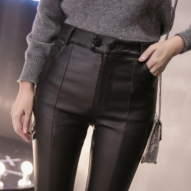 Les femmes minces velours PU Pantalon en cuir 2019 Nouveau Femme élastique extensible Faux cuir Skinny crayon pantalon serré pantalons Automne Hiver