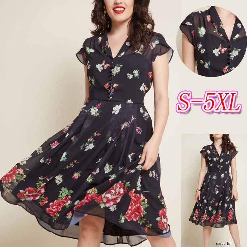 Womens concepteur grand été imprimé V-cou élégante robe grande balançoire de fermeture en mousseline de soie taille courte sleeveH