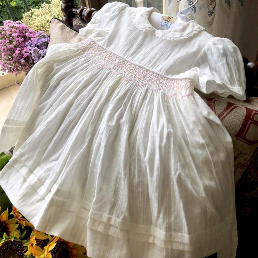 Baby Frocks Smocked Holiday Kids Dresses For Girls Clothing Long Princess Party School Wedding White J190611