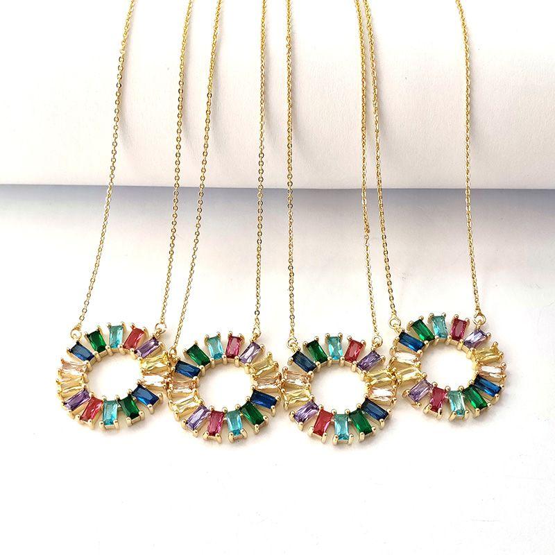 Новый дизайн Круг Ожерелье Micro Pave Радуга Кубического Циркония Простые Круглые Подвески Цепи Ожерелье Женщины Ювелирные Изделия NK442
