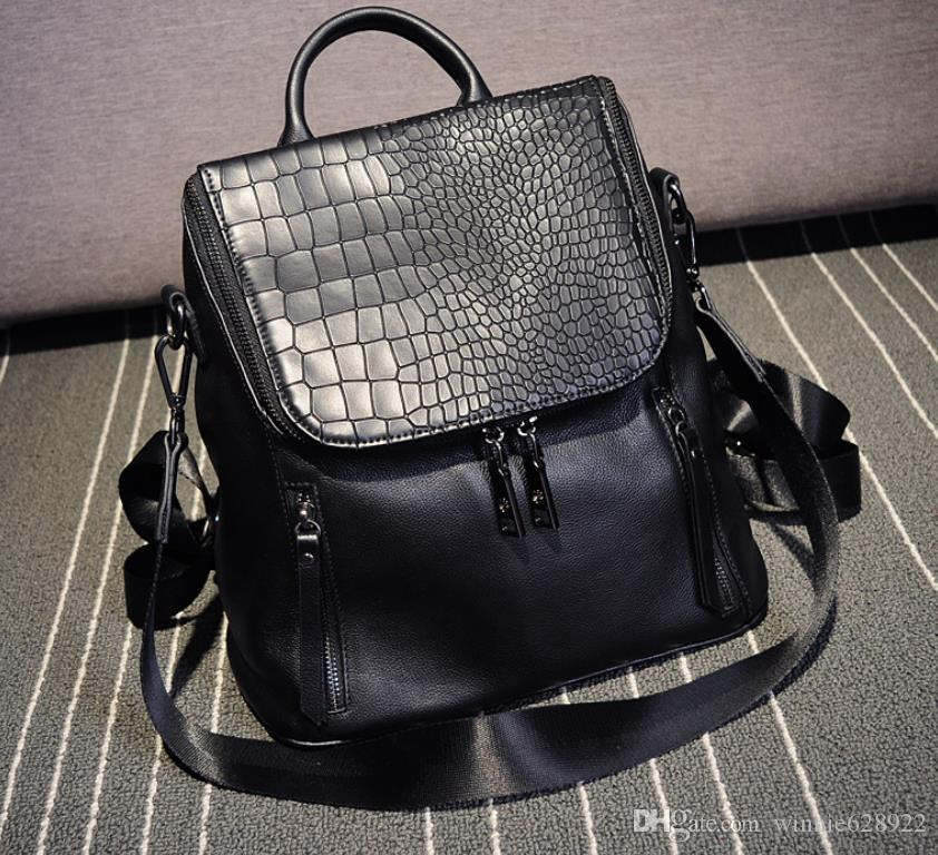 Free shipping 2019 new Real leather backpack for women Fashion designer style black color hot sale