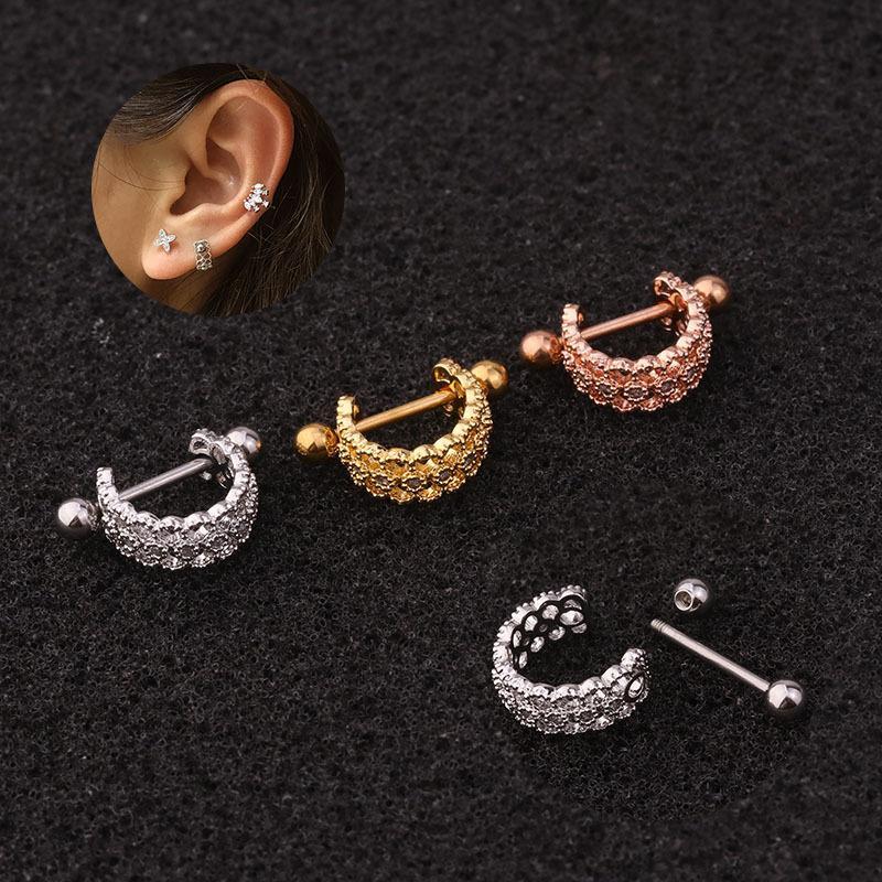 Nueva personalidad en forma de U del hueso del oído clip de la joyería de acero inoxidable con aguja fina Tornillo pendientes de las mujeres circón Piercing