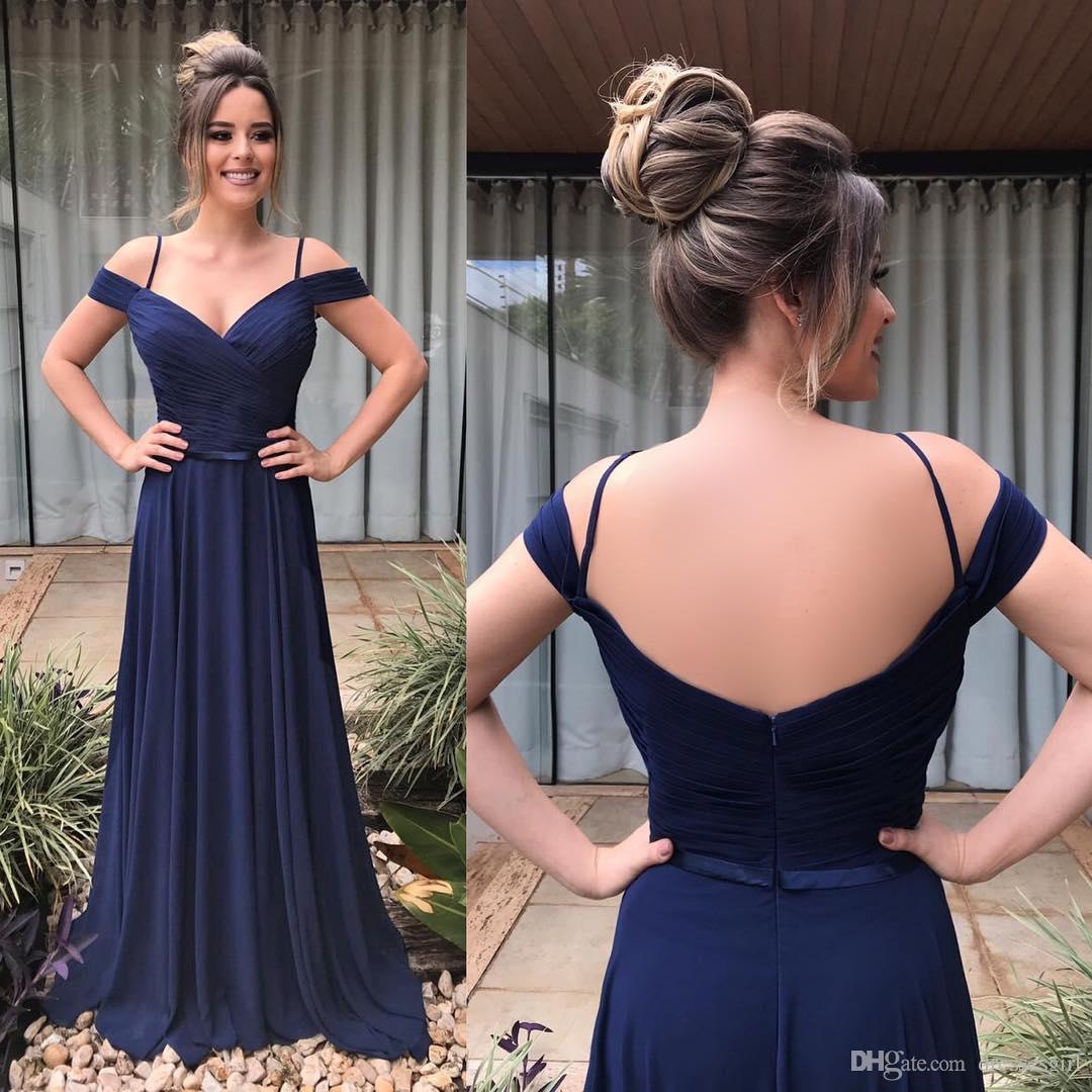 2019 военно-морской синий с плечами Bridemaid платья в линейке V шеи спинной горничной честь платье BM0623
