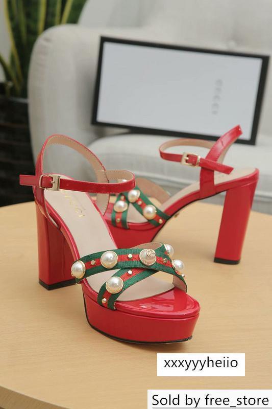 scarpe Top Lettera qualità di perle con tacco di pelle verniciata genuina sandali del tallone della donna di modo 10cm 35-41 con la scatola