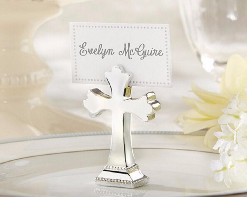 100pcs Creative Cross Table Card Clip Place Card Holder Seat Clamp Wedding Table Decoration Favors Party Giveaways