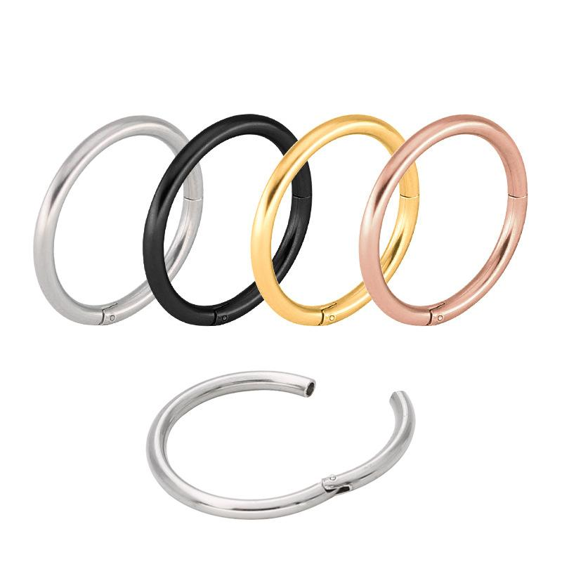 Titanium Hinged Segment Hoop Nose Ring 16G Nipple Clicker Ear Cartilage Tragus Helix Lip Piercing Unisex Body Jewelry