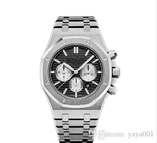 2019Новое высокое качество мужские часы из нержавеющей стали 42 мм Кварцевый хронограф Механизм Спорт Мужчины Бизнес Сапфир наручные часы