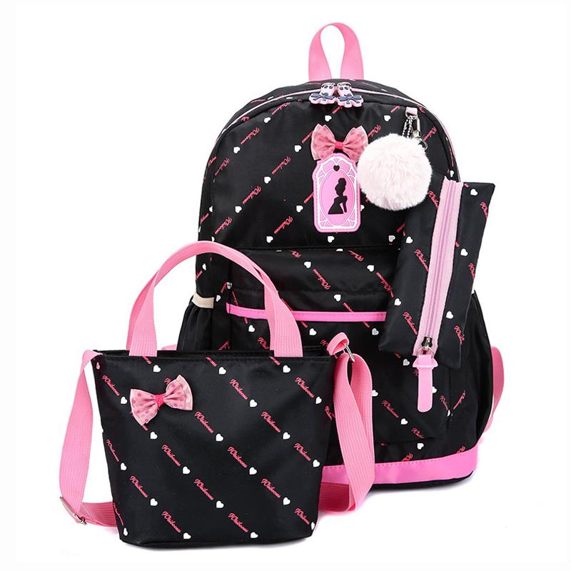 Cute Bow Crianças Mochila Meninas 3 pçs / set Sacos De Escola Para Meninas Mochila Escolar Mochila Crianças Livro Saco Ombro Mochila Conjunto