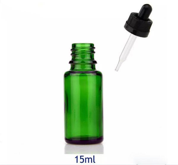 Hot sale 15ml Green Blue Clear Amber Glass Dropper Bottles Empty Oil Bottles With childproof cap free shipping