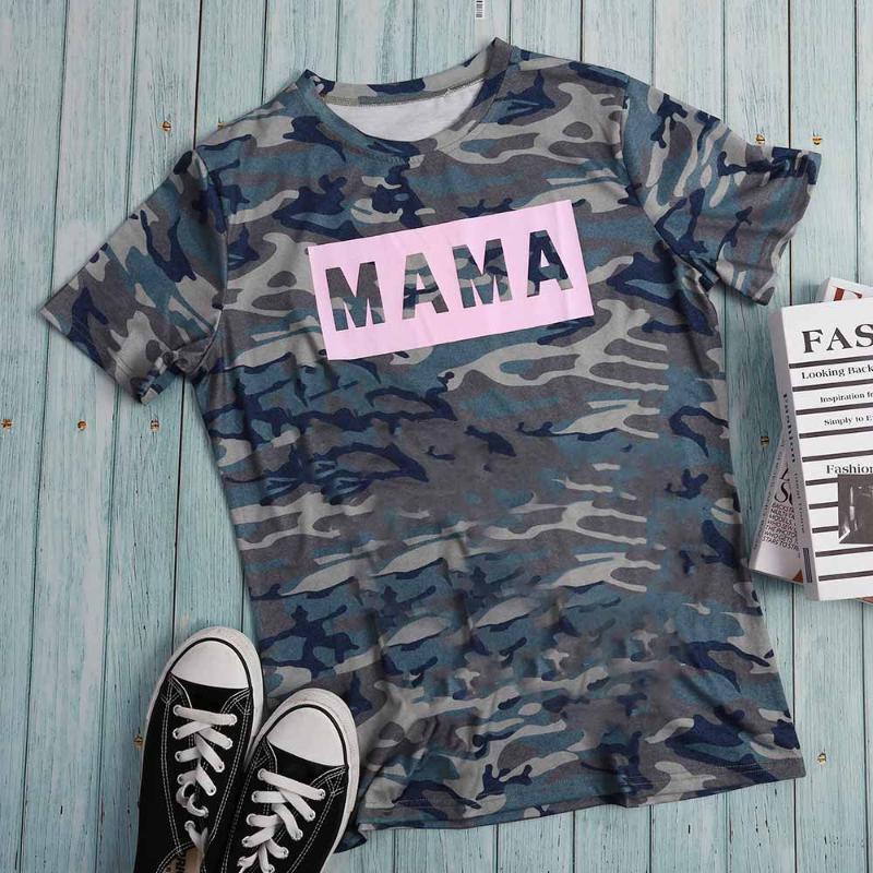 Vogue Kadınlar Kısa Kollu Harajuku tişört Mama Kamuflaj Grafik Beyzbol Tee Gömlek Femme Ulzzang En Koreli Giyim Artı boyutu
