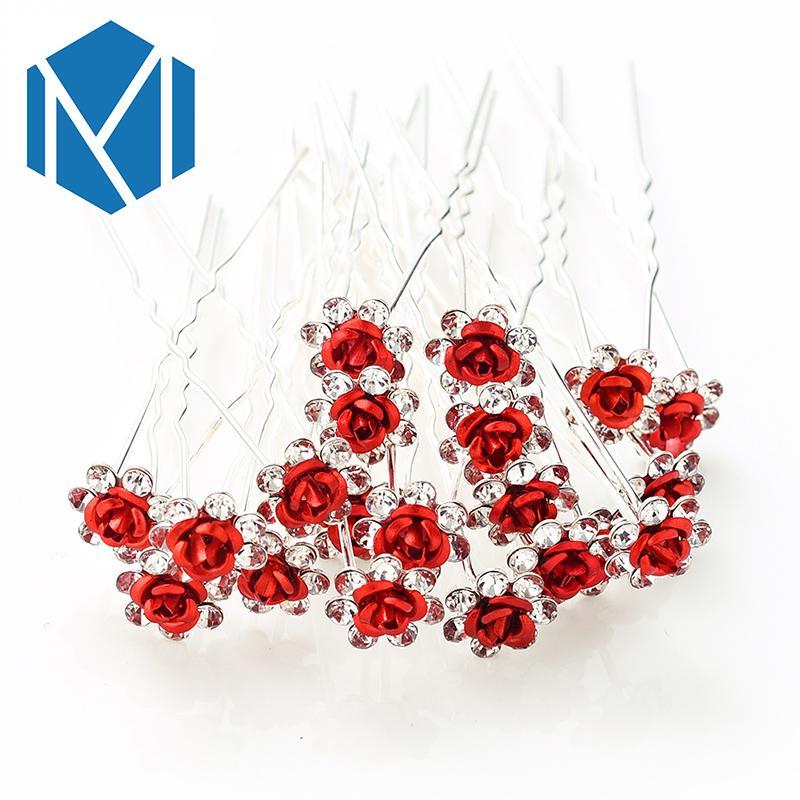 M MISM 20 pièces / Set Bridals Brillant strass Rose Fleur Décoration cheveux Barrettes de mariage / Parti Bun Makers Helper Accessoires cheveux