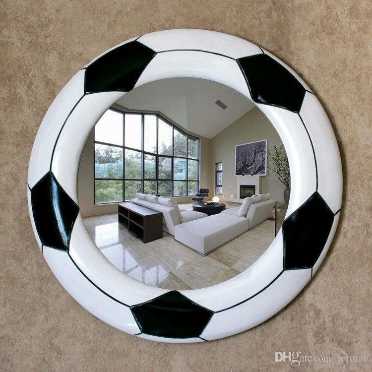45,5 cm x 45,5 cm Minimalistische Moderne Schwarz Und Weiß Kreative Fußball Badezimmerspiegel Wandbehang Badezimmerspiegel