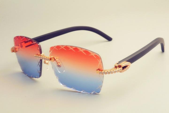 2019 الجديدة الساخنة بيع النقش عدسة 8300177-A النظارات الشمسية أزياء الماس الصغيرة ظلة مرآة أسود طبيعي خشبي النظارات الشمسية للجنسين