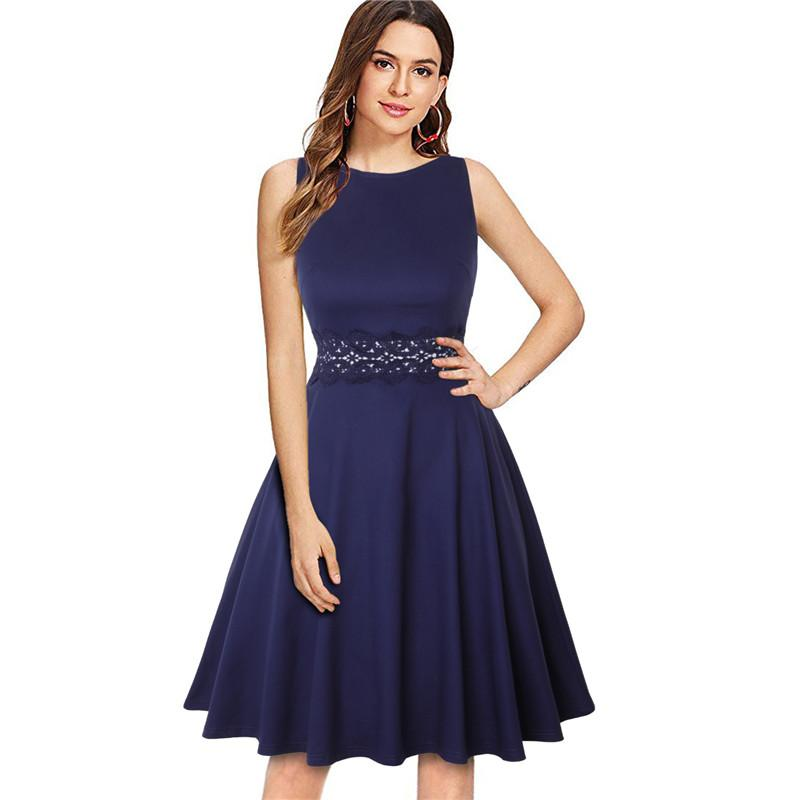 Neue Ankunfts-Weinlese-elegante Spitze-Kleider für Frauen 2020 Sexy aushöhlen A-Line Kleid Mode Abend legere Kleidung
