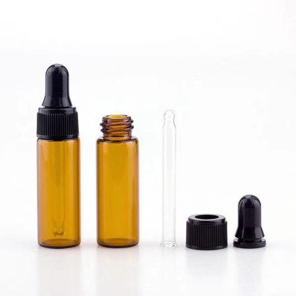 Schnell 1000pcs / lot Glasprobenfläschchen 5ml Minibernstein- Glas Tropfflasche mit schwarzer Kappe für Parfüm E Flüssigkeit Versand