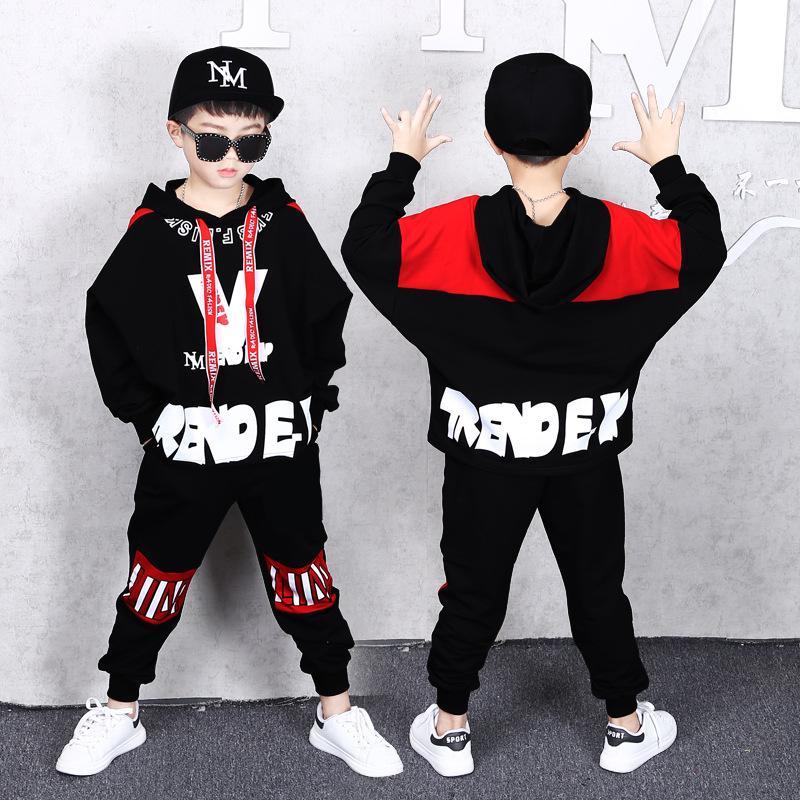La ropa de los niños del juego del resorte y del otoño nuevos muchachos del suéter de la manera ocasional Deportes pantalones flojos de Hip Hop chaqueta y pantalones de tendencia 2 juegos