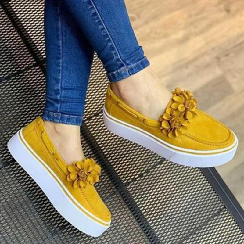 Холст кроссовки Женщины Повседневная обувь платформы Цветы Квартиры каблука Круглый Toe эспадрильи женские Мокасины Обувь Zapatos Mujer
