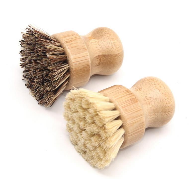 De mano de madera de la manija cepillo redondo pote del cepillo de sisal palma Plato de Tareas Cuenco Pan cepillos limpiadores de cocina o limpieza con herramienta Rub SN904