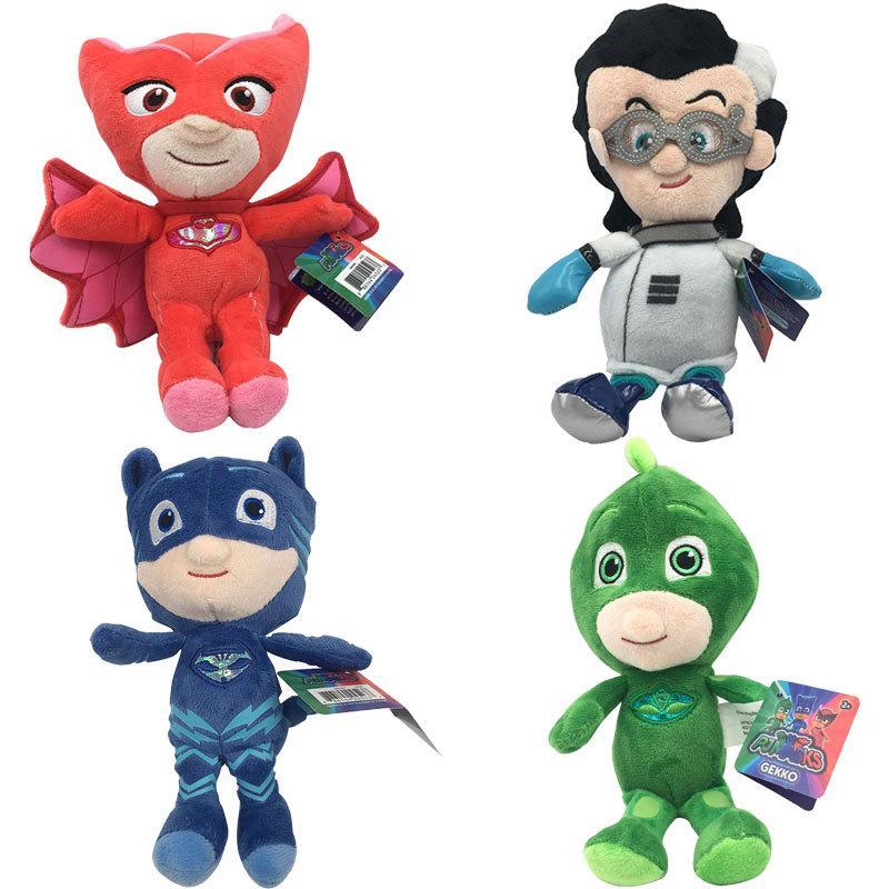 PJ Maskeleri Peluş Oyuncaklar Çocuklar Yumuşak Dolması Oyuncak Karikatür Kahraman Kedi Çocuk Gekko Owlette Film Bebekler Oyuncaklar Çocuklar için 20-25 cm