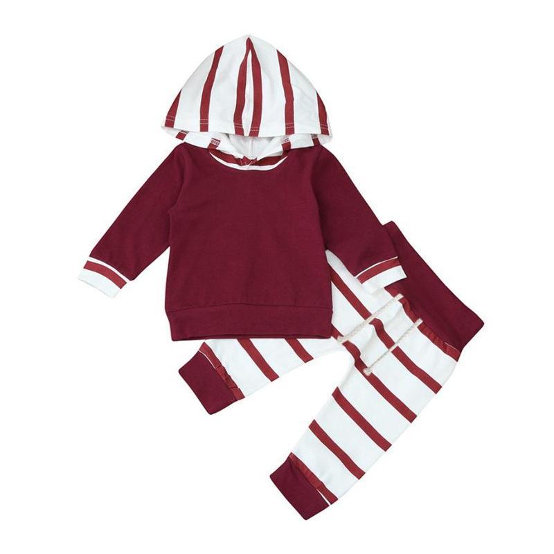 아기 옷 2pcs 빨간색과 흰색 줄무늬 까마귀상의 + 줄무늬 바지 유아 유아 아기 소년 소녀 복장 O- 넥 패션 세트