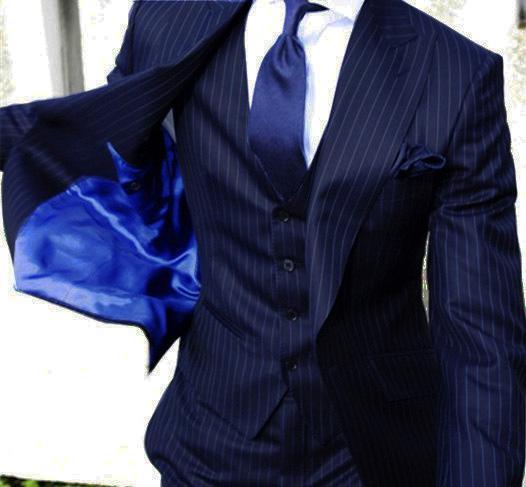 최신 코트 바지는 네이비 블루 수직 스트라이프 맞춤 턱시도 스키니 남성 정장 디자인 3 조각 재킷 Terno 정장 자켓 + 조끼 + 바지