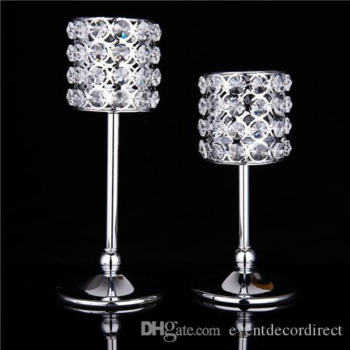 Candelabros de cristal de Navidad cilíndrico Candelabros Vela votiva Linterna Boda Centro de decoración del hogar (Plata)