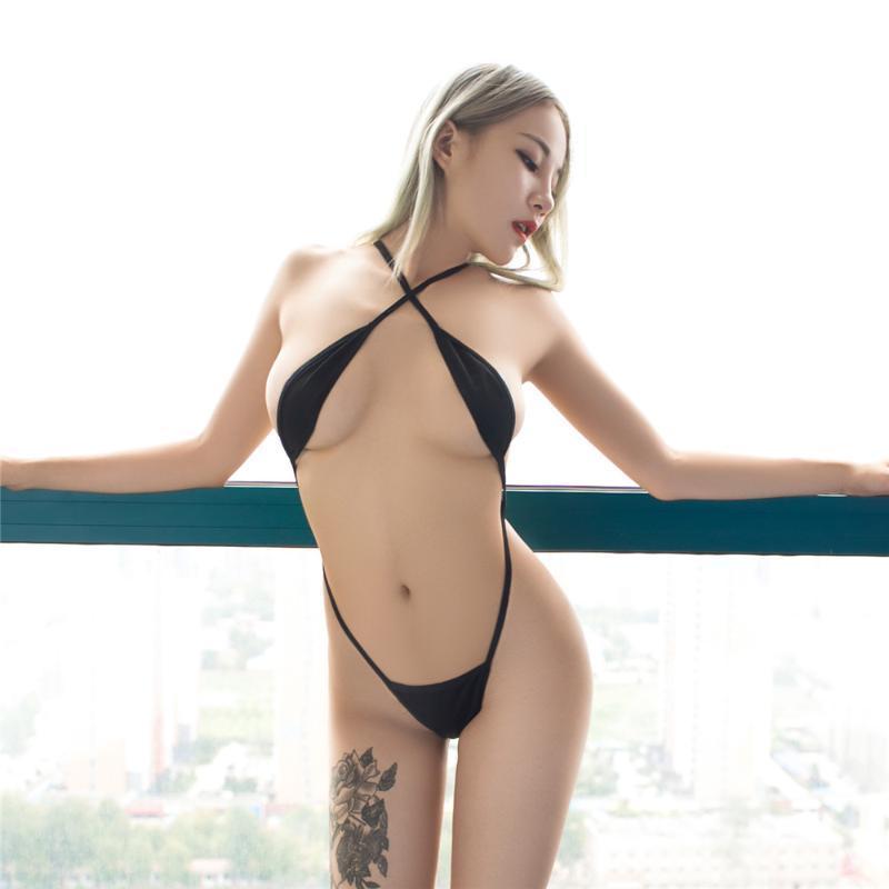 Traje de baño de las mujeres sexy micro bikini 2021 perspectiva cadena camisola desnuda exponer el vientre seksi bikinis mujeres una pieza traje de baño biquini