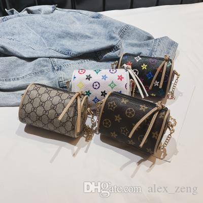 아이 핸드백 인쇄 디자이너 미니 지갑 어깨 가방 아기 십대 어린이 여자 PU 메신저 골드 체인 가방 크리스마스 선물