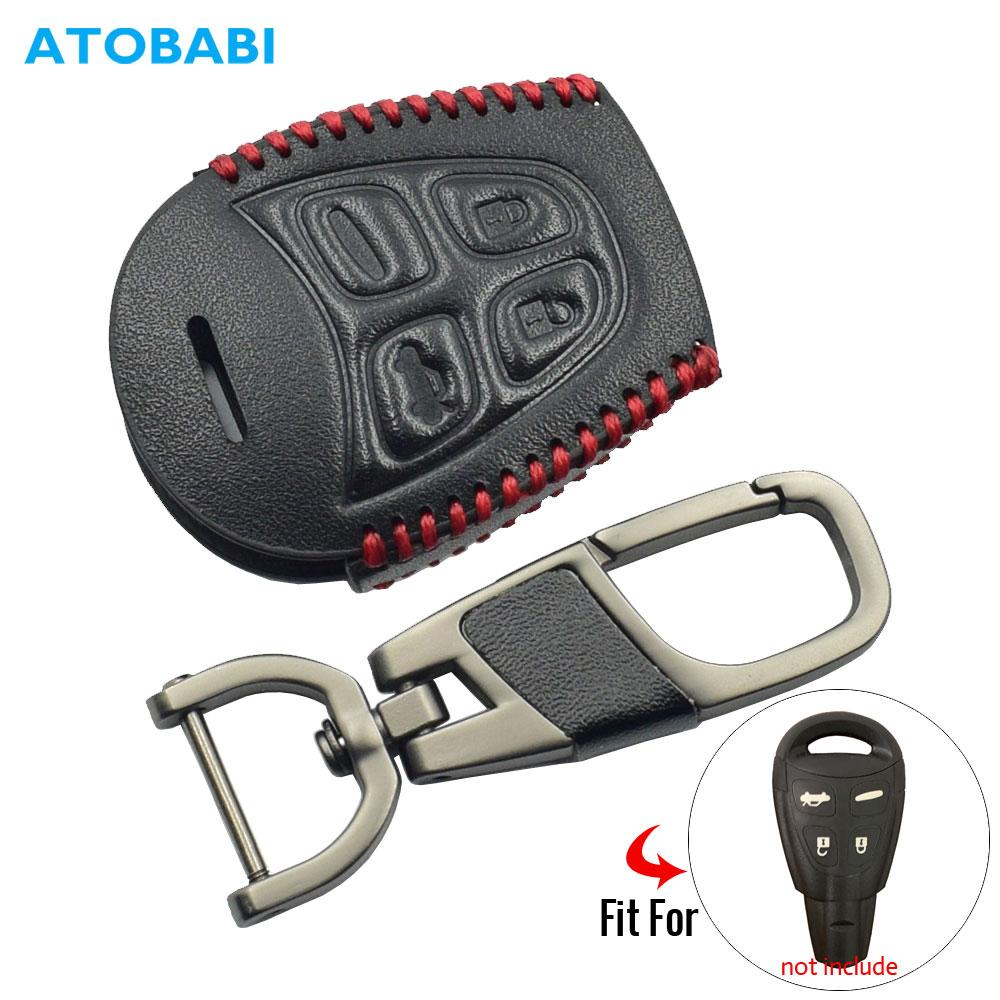 Key Case for Car Leather Car Key Case For SAAB 9-3 9-5 93 95 2003-2011 4 Buttons Smart Remote Fob Protector Cover